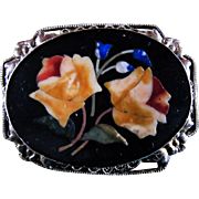 Gorgeous 1800s Italian Pietra Dura Coral Rose Brooch With Beautiful Inlays & Exquisitely Chased Frame