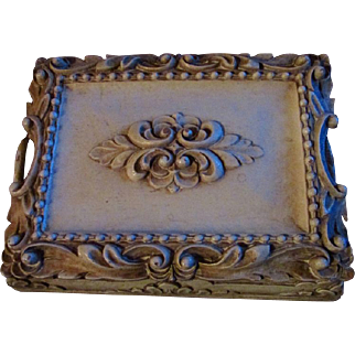 SYROCO WOOD ~ Trinket, Cigar, Card Or Jewelry Box ~ Ornate Leaves & Oh-So Elegant & Sophisticated