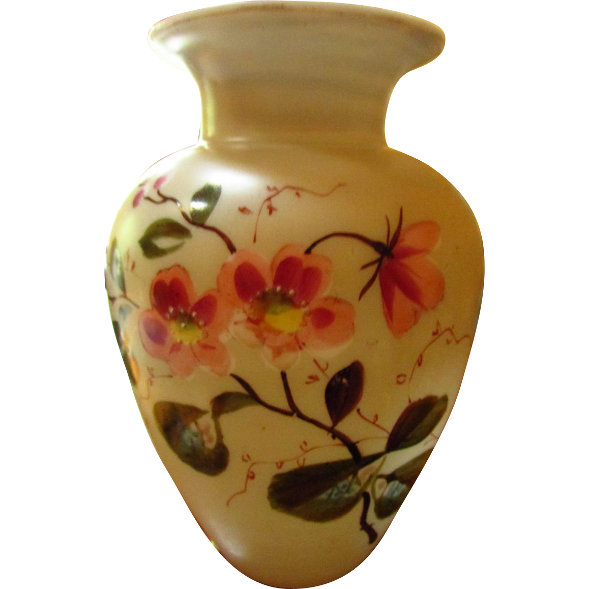 Antique bristol glass vase ginger jar style gorgeous hand painted