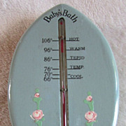 Vintage BABY BATH Floating Thermometer ~~ 1930's Slate Blue& Pink Rosettes Painted Finish ~~