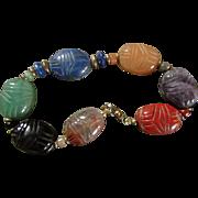 JADE, ETC SCARAB Bracelet au Naturale  ~~ Finest Oriental Scarab Beetles Carved In Natural Gemstones ~~ 14KT GoldFill Vintage Beauty