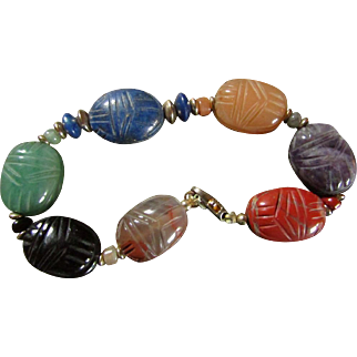 JADE, ETC SCARAB Bracelet au Naturale  ~~ Finest Oriental Scarab Beetles Carved In Natural Gemstones ~~ 14KT GoldFill Vintage Beauty