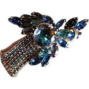 Fanciest Of The Fancy ~ Deep Montana Sapphire Blue~ Purple Toned Rhinestones Glimmer Brilliantly From This Extravagant Aurora Borealis & 10K GP BROOCH ~   Fine Vintage Design