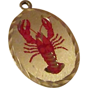 MAINE LOBSTER Pendant/Charm ~ New Old Stock ~ Blackinton Pewter, Diamond Engraved Edging