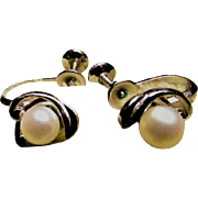 MIKIMOTO Cultured PEARL Earrings With A Sterling Silver Swoop ~ Oo La La !! Vintage Mikimoto Screwback Wonders !!