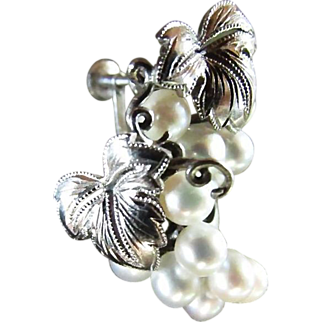 MIKIMOTO Cultured Pearls ~ Cupid's Pick For Your Sweetheart At Valentine's This Year ~ Classic Grape Cluster With Sterling Accents ~ Wonderful Vintage Treasure ~ Sterling Silver Screwback Earrings