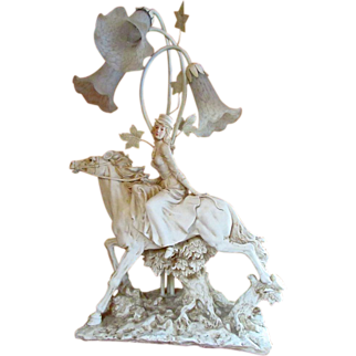 Vintage Resin Equestrian SideSaddle HORSEWOMAN LAMP ~ Sculptured Grande Dame Table Lamp Extraordinaire