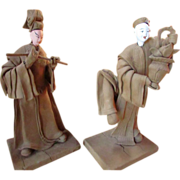 Pair Of Vintage Samurai Kabuki Dolls ~  Wood Clay Art Figurines On Stands ~ What A Pair !!