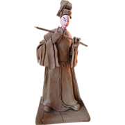 Another Vintage Samurai Warrior With War Stick ~ Kabuki Doll ~  Vintage Wood Clay Art Japanese Figurine On A Stand