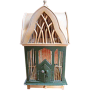 Probably Antique ~ Early 1900's ~ VINTAGE WOOD & WIRE BIRD CAGE In The Style Of A Victorian ~ Gothic House ~ Wonderful Vintage Architecture & Charm ~ Great Condition !!