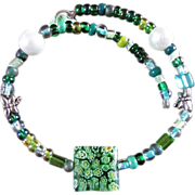 Vintage Venetian Murano Millefiori Art Glass Lampwork COIL BRACELET ~ Perfect Fit With White Pearls, Greens, Yellows & Blues In Brilliant Shades ~ Like New Vintage Condition