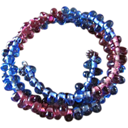 Vintage Art Glass Bead Coiled Wire Bracelet ~ Beautiful Triple Wrap Amethyst & Sapphire-Colored Glass Double Beads ~ Excellent Vintage Condition ~