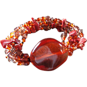 Vintage Chunk Amber & Glass Beads ~ It's A Lovely Amber-Toned Six-Strand Stretch Bracelet ~ Simply Adorable !!