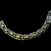 CITRINE CABOCHONS a la Sterling Silver Bracelet ~ Faceted, Emerald Cut Lemon Citrine Cabochons Embedded In Blocks Of Sterling Silver ~ OOAK Vintage Treasure Galore