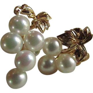 MIKIMOTO 14K Gold Cultured Pearl Grape Cluster Earrings ~ Vintage Screwbacks ~ Cupid's Top Pick For Your Lover ANY Day You Wish To Melt Her Heart AGAIN !!