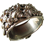 Repousse SilverPlate Hinged Bracelet Extraordinaire ~ This Sculpted Bracelet Is THE MOST !! SilverPlated Urns And Trails Of Leaves & Flowers ~ Too Beautiful For Words !!