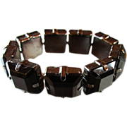 Vintage Faceted JET BLACK GLASS a LA Gunmetal Stretch Bracelet.
