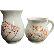 POTTERY PAIR ~ (Unmarked) Vintage Rustic Red Transferware Vase & Cup ~ Moustache' Or Otherwise
