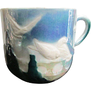 Moustache Cups  ~ German Designs ~ Pink Roses & Gild & Frosted LoveBird Scene