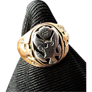 1940's WWII US Army Officer's Ring ~ Sterling Silver a la 14 KTGP