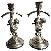 Vintage SilverPlate Cherub Bearing Cross CandleHolders ~ Adorn Your Mantel With These Darling Cherubs ~ A Delightful Pair To Treasure Forever