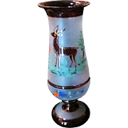 Antique Bohemian Ruby Frosted Vase Handpainting Of Golden Highlighted STAG Prancing Amid Flowers In A Wood