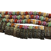Vintage EyeCatching Wide MultiColored Beaded & Bronze Cinch Belt  ~ Petite to Small Size ~ 1980's Fashion Accessory Treasure