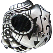 Wide Domed Ring By SHUBE's ~ This 1970's Sterling Silver And Labradorite Combination Is A Non-Traditional, Sweet & Mellow Blend With A Native American Theme