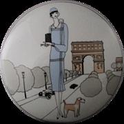 Vintage Creation Jacques Lobjoy Fine Porcelaine D'Auteuil - Paris, France Art Deco ARC De TRIOMPHE Trinket/Jewelry Box Or Vanity Jar