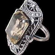 Vintage Light Citrine & Marcasites Atop Sterling Silver Cocktail Ring ~ Extraordinarily Elegant !!