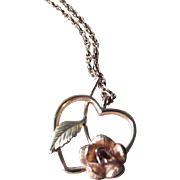 KREMENTZ Pendant ~ 8KTYGF Open Heart With Lovely Coppery Gold Rose And Yellow Gold Leaf (Hallmarked) Hangs From A GF Slightly Twisted Chain