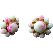 Vintage CLUSTER Clip Earrings ~ Soft Pink & White Streaks With Tiny Amber-Colored Bead Trim