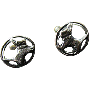Vintage SCOTTIE DOG ScrewBack Earrings ~ 90-95% Silver Scotty Dog In A Circle ~ Sweet As Sweet Can Be