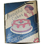 Antique Cake Decorating Kit ~ Aluminum Pieces ~ Original Box Is In Splendid Condition