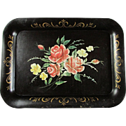Black Tole Painted Tray Featuring A Brilliant Array Of Roses ~ Good Vintage Condition With Age Commensurate Signs Of Age
