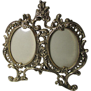 Vintage ROCOCO Style Double Oval Metal Picture Frame ~ Foldable, Compact & Handsome