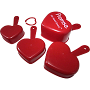 Bright Red Heart-Shaped Measuring Cups (4) Collector's Set ~ From The Heart Campaign Of The *PROMISE ~ To Get Heart Smart*