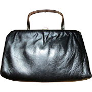 Vintage ANDE' Navy Blue Leather CLUTCH Or Handled Bag ~ GoldToned Trim, Convertible Metal Handle, And Tons Of Simple Charm