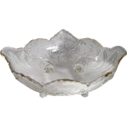 Gold Trim Accents This Stunning Pinkish-Tinged Cut Crystal Oval Footed Bowl With Floral & Leafy Design
