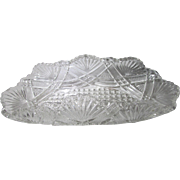 Vintage Crystal Fan Pattern With Sawtooth Top Edge & Hobnail Bottom Candy Dish