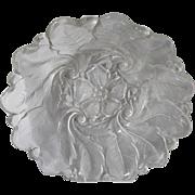 Vintage Elegant Textured Cut Crystal 3-D Flower-Shaped Serving Bowl ~ Stunning 5-Petal Flower & Leaf Swirl Pattern Dessert Or Fruit Bowl