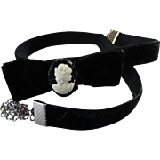 Black Velvet Boot Bracelet ~ Choker W/ Upcycled White Plastic Cameo (Earring) That Rests On A Bow ~ Handsome, Dainty Treasure