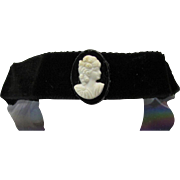 Soft Black Velvet Choker aka Boot Bracelet With Upcycled White Plastic Cameo (Earring)