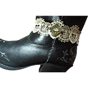 Creamy Lacy Gothic-Style Boot Bracelet aka Choker W/ Upcycled Glam Prong-Set, Faceted Pale Citrine Crystal (Earring) Deeply Set In An Awesome Setting