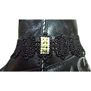 Upcycled (Earring) Glam Faux Pearls Amid Bezel-Set Crystals Ala Fancy Wide Black Lace Choker ~ Boot Bracelet~ Very Goth !!