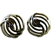 Upcycled MONET Gold Plated Post Earrings ~ Retro Open Wavy Design Now For Pierced Ears
