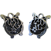 Upcycled Sterling Silver Filigree Pumpkin Earrings ~ Converted Clip To Pierced