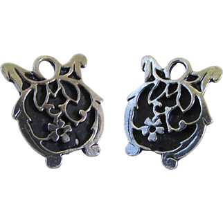 Upcycled Sterling Silver Filigree Tomato Earrings ~ Converted Vintage Clip To Pierced