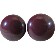 Upcycled Deep Burgundy Dome Lucite Button (Clip) Earring Converted For Pierced Ears ~ Eternally Stylish & Handsome