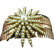 Upcycled ART Starburst Brooch ala Wide Feathery Copper Cuff Bracelet ~ Broken Pearl Starburst Has Been Revived ~ Ultra Gorgeous OOAK